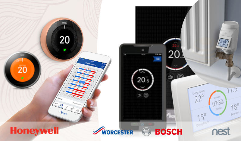 Multiple images of smart heating controls