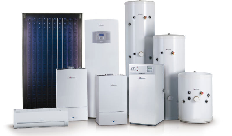 Picture of various Worcester Bosch central heating boilers
